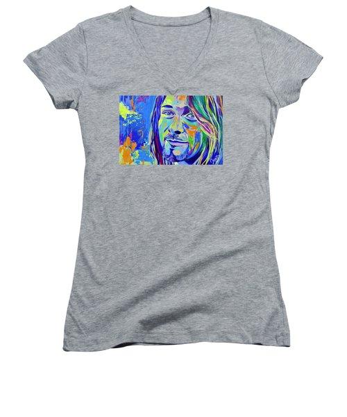 Kurt Cobain Women's V-Neck T-Shirt