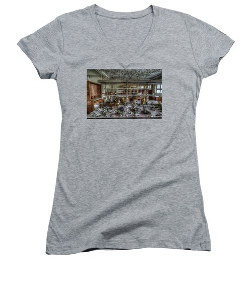 Women's V-Neck T-Shirt (Junior Cut) featuring the digital art Lab 1 by Nathan Wright
