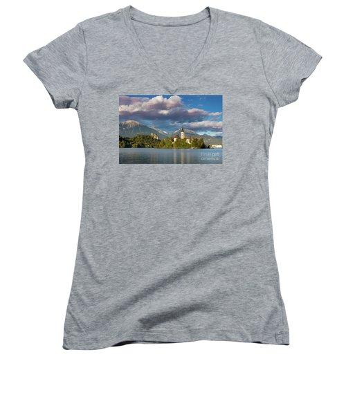 Women's V-Neck T-Shirt (Junior Cut) featuring the photograph Lake Bled Evening by Brian Jannsen