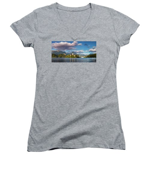 Women's V-Neck T-Shirt (Junior Cut) featuring the photograph Lake Bled Panoramic by Brian Jannsen