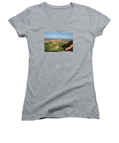 Women's V-Neck T-Shirt (Junior Cut) featuring the photograph Las Medulas by Christian Zesewitz