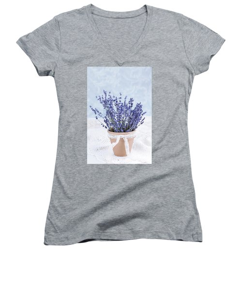 Lavender Women's V-Neck T-Shirt (Junior Cut) by Stephanie Frey