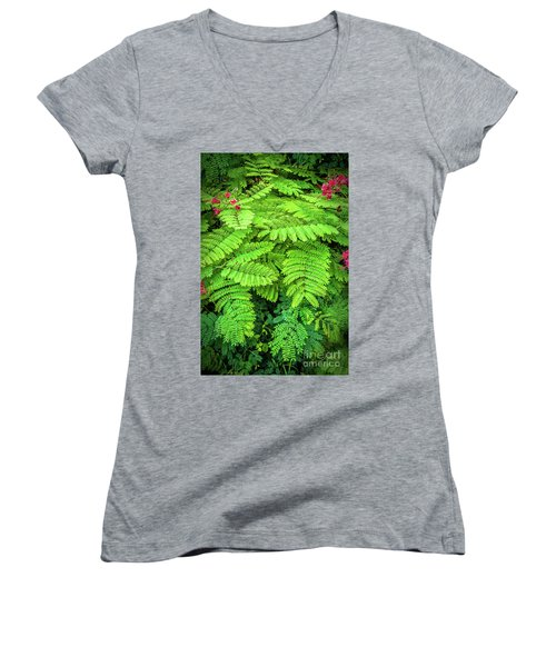 Women's V-Neck T-Shirt (Junior Cut) featuring the photograph Leaves by Charuhas Images