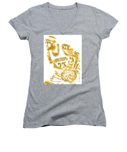 Lebron James Cleveland Cavaliers Pixel Art 7 Women's V-Neck T-Shirt (Junior Cut) by Joe Hamilton