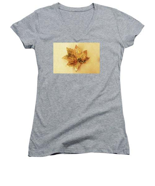Leaf Plate1 Women's V-Neck T-Shirt (Junior Cut) by Itzhak Richter