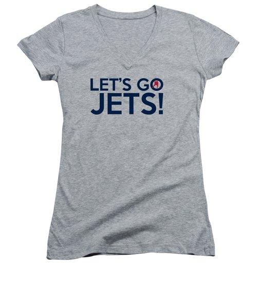 Let's Go Jets Women's V-Neck T-Shirt (Junior Cut) by Florian Rodarte