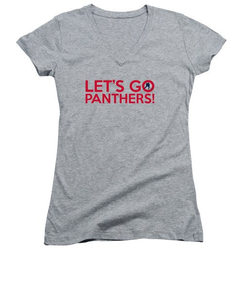 Let's Go Panthers Women's V-Neck T-Shirt (Junior Cut) by Florian Rodarte