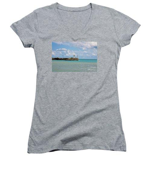 Lighthouse Women's V-Neck T-Shirt (Junior Cut) by Irina Afonskaya