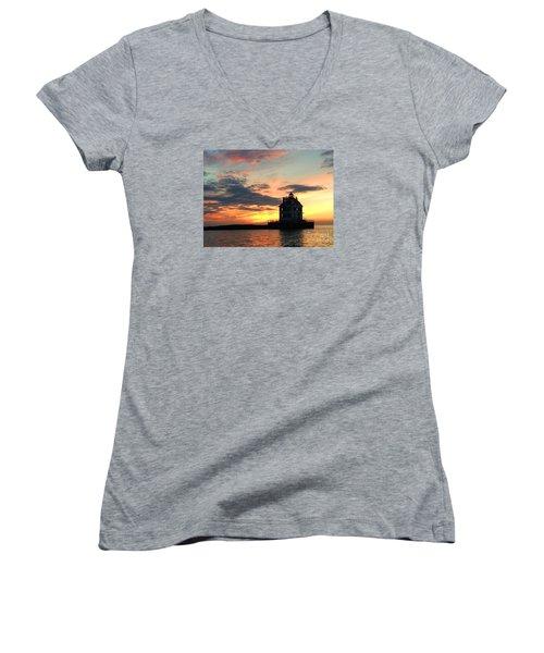 Lighthouse Sunset Women's V-Neck (Athletic Fit)