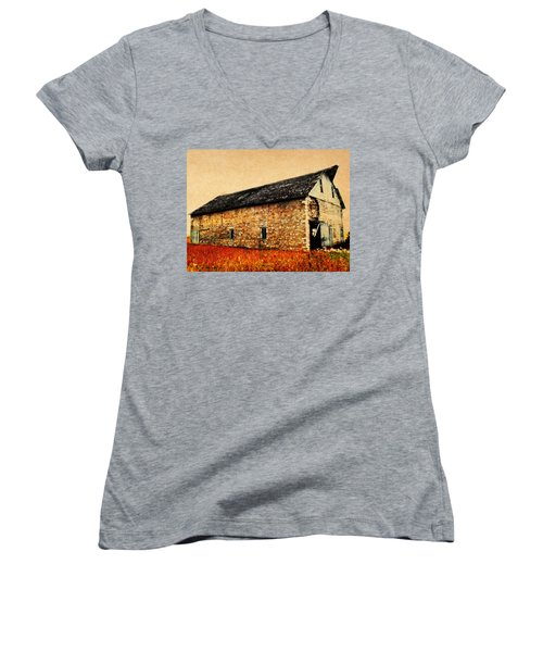 Lime Stone Barn Women's V-Neck T-Shirt (Junior Cut) by Julie Hamilton