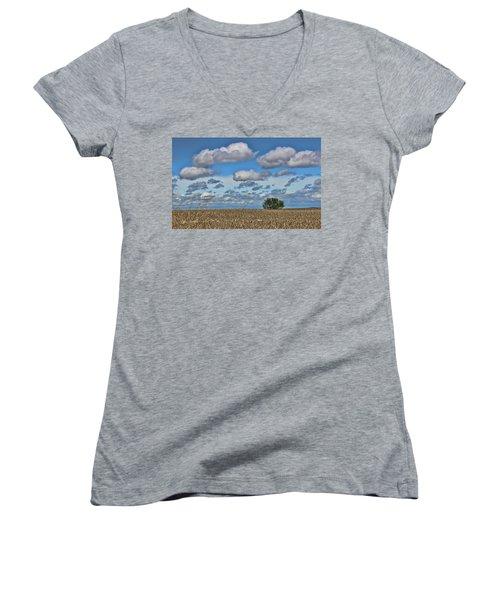 Lone Tree Women's V-Neck T-Shirt (Junior Cut) by Sylvia Thornton