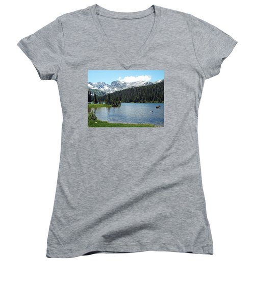 Long Lake Splender  Women's V-Neck T-Shirt
