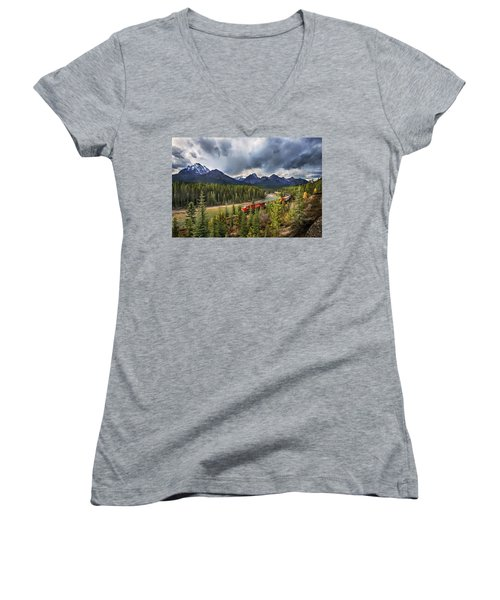 Long Train Running Women's V-Neck T-Shirt (Junior Cut) by John Poon