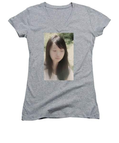 Women's V-Neck T-Shirt (Junior Cut) featuring the photograph Lost In Thought by Tim Ernst