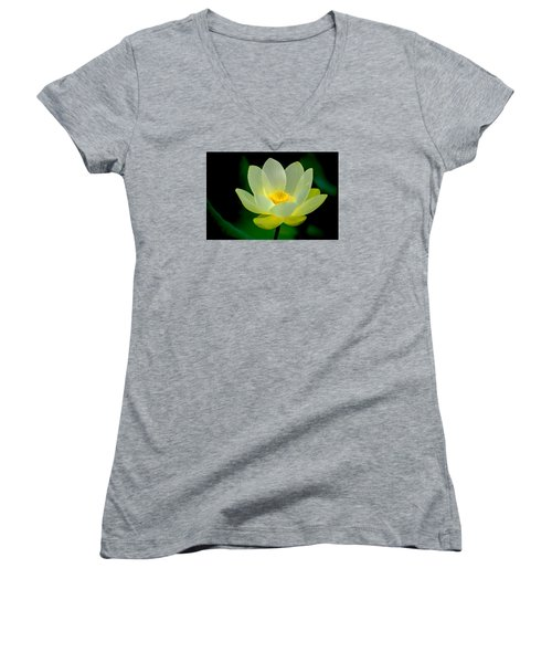 Lotus Blossom Women's V-Neck T-Shirt (Junior Cut) by Tyson and Kathy Smith