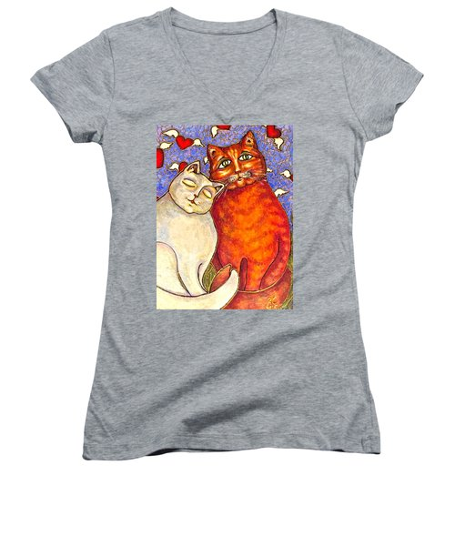Women's V-Neck T-Shirt (Junior Cut) featuring the painting Love Is In The Air by Rae Chichilnitsky
