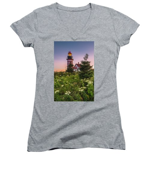 Maine West Quoddy Head Light At Sunset Women's V-Neck T-Shirt (Junior Cut) by Ranjay Mitra