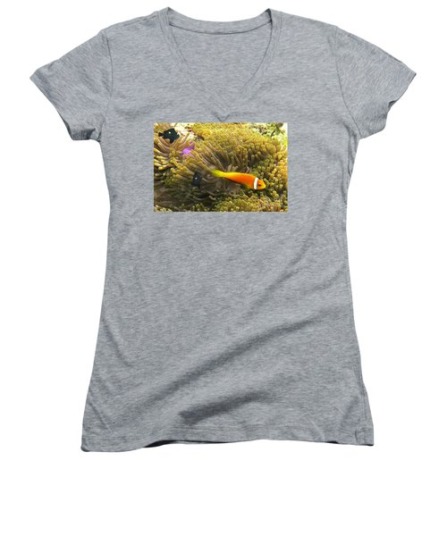 Women's V-Neck featuring the photograph Maledives Clown Fish by Juergen Held