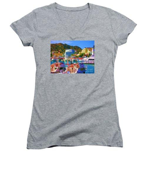 Marina Towards Pedregal Women's V-Neck T-Shirt (Junior Cut)