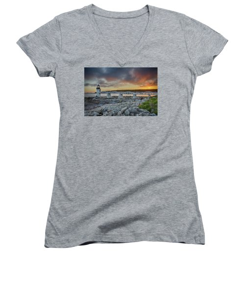Marshall Point Lighthouse At Sunset, Maine, Usa Women's V-Neck