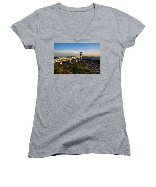 Marshall Point Lighthouse Women's V-Neck T-Shirt (Junior Cut) by Diane Diederich