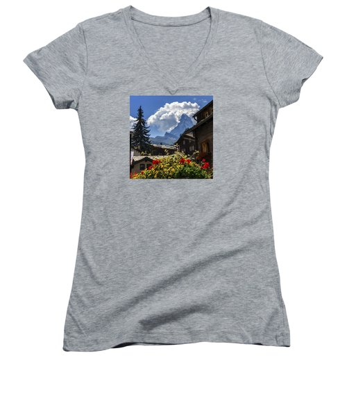 Matterhorn And Zermatt Village Houses, Switzerland Women's V-Neck T-Shirt