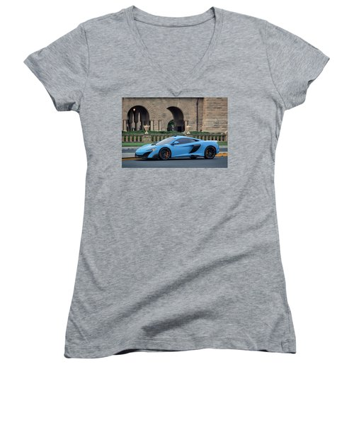 #mclaren #675lt With #pirelli #tires Women's V-Neck T-Shirt
