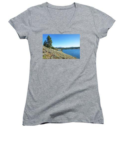 Meadowlark Lake View Women's V-Neck T-Shirt (Junior Cut) by Jess Kraft