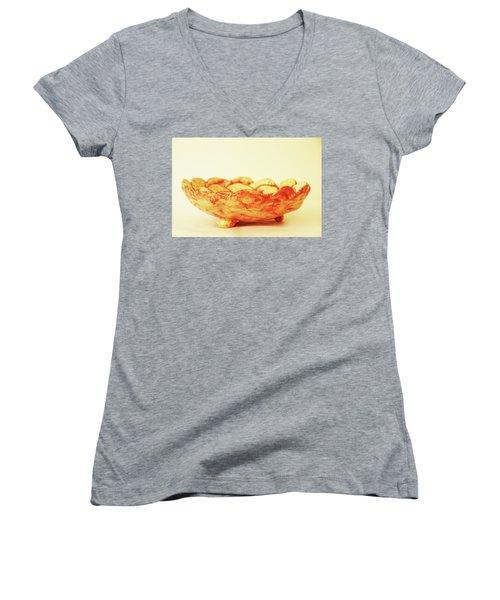 Medium Patches Bowl1 Women's V-Neck T-Shirt (Junior Cut) by Itzhak Richter