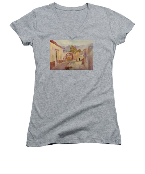 Mexican Street Scene Women's V-Neck T-Shirt (Junior Cut) by Larry Hamilton