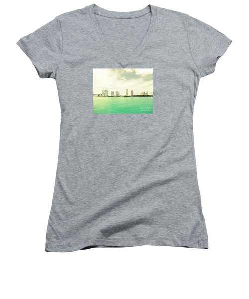 Women's V-Neck T-Shirt (Junior Cut) featuring the photograph Miami  by France Laliberte