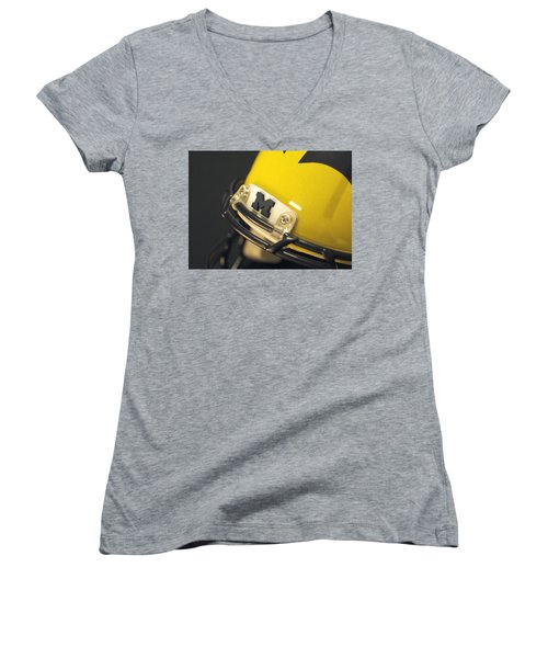 Women's V-Neck (Athletic Fit) featuring the photograph Michigan M by Michigan Helmet