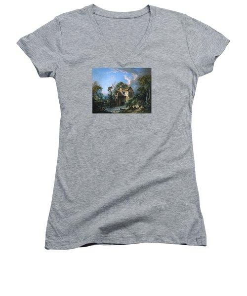 Mill At Charenton Women's V-Neck T-Shirt (Junior Cut) by Francois Boucher