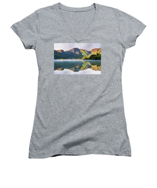 Women's V-Neck T-Shirt (Junior Cut) featuring the photograph Misty Dawn Lake by Ian Mitchell