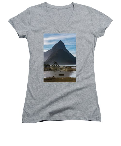 Women's V-Neck T-Shirt featuring the photograph Mitre Peak / Rahotu by Gary Eason
