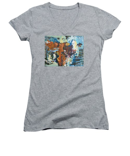 Mixed Media Cow Painting Women's V-Neck T-Shirt (Junior Cut) by Robert Joyner
