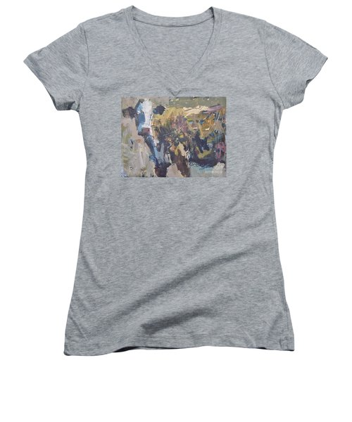 Modern Abstract Cow Painting Women's V-Neck T-Shirt (Junior Cut) by Robert Joyner