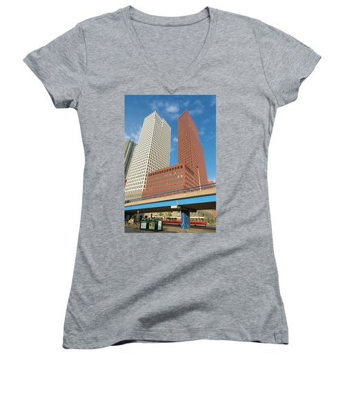 Women's V-Neck T-Shirt (Junior Cut) featuring the photograph Modern Skyscrapers by Hans Engbers