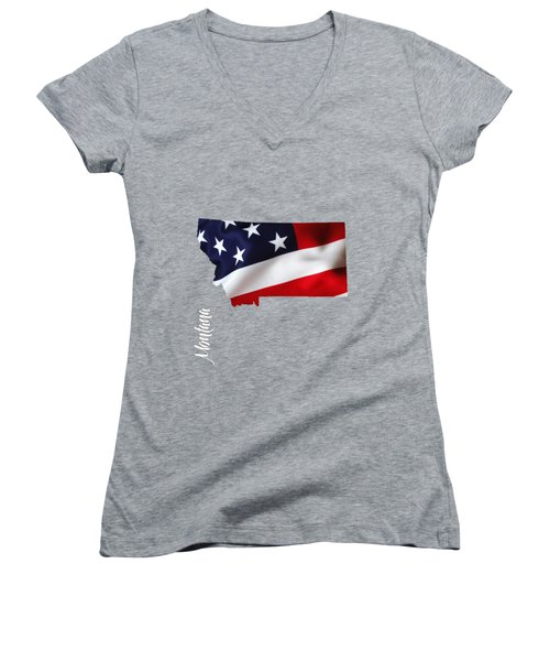 Montana State Map Collection Women's V-Neck (Athletic Fit)