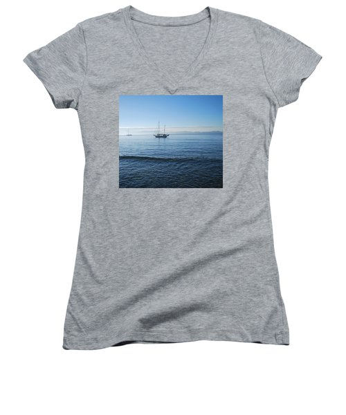 Morning Clouds Women's V-Neck (Athletic Fit)