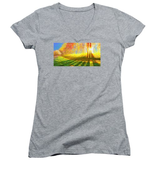 Women's V-Neck featuring the painting Morning by Hidden Mountain