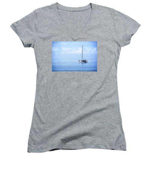 Morning Sail Women's V-Neck T-Shirt (Junior Cut) by James Hammond