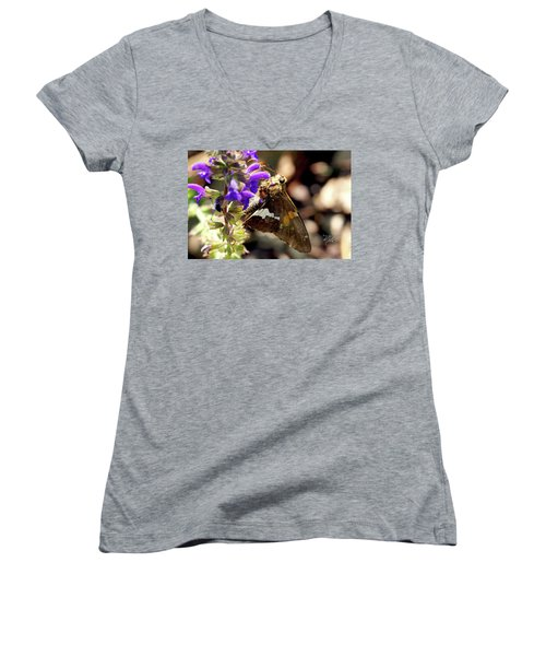Moth On Purple Flower Women's V-Neck T-Shirt