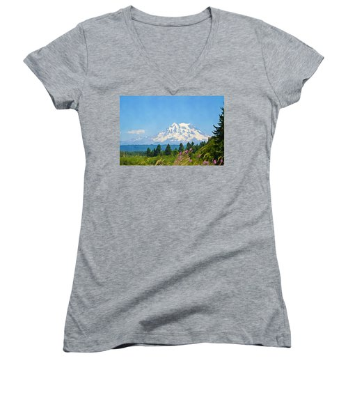 Mount Rainier Watercolor Women's V-Neck
