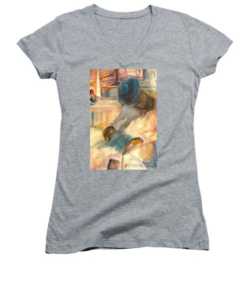 Women's V-Neck T-Shirt (Junior Cut) featuring the painting Mr Hunters Porch by Daun Soden-Greene