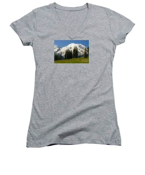 Mt. Rainier Alpine Meadow Women's V-Neck T-Shirt