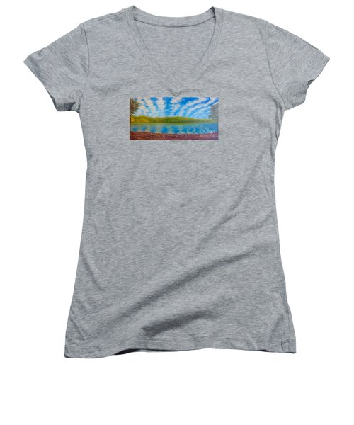 My Serenity Lies In A Place Between Heaven And Earth Women's V-Neck T-Shirt