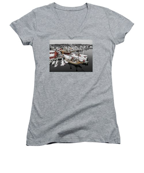 Women's V-Neck T-Shirt (Junior Cut) featuring the photograph Mystic Seaport In Winter by Petr Hejl