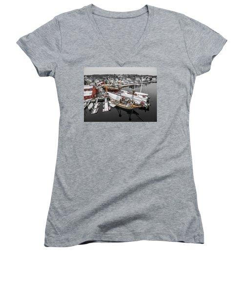Mystic Seaport In Winter Women's V-Neck T-Shirt (Junior Cut) by Petr Hejl
