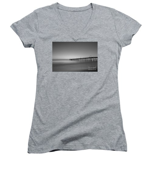 Nags Head Fishing Pier Sunrise Women's V-Neck T-Shirt (Junior Cut) by Michael Ver Sprill
